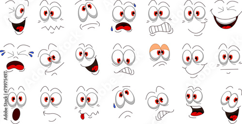 Cartoon face emotions set for you design - 79975497
