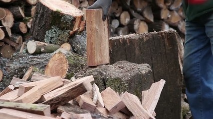 Chopping firewood with sound