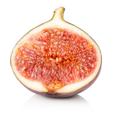 half of fig isolated on the white background