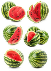 set of watermelons isolated on the white background
