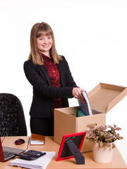 Adopted in office girl puts her things out of the box