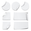 Set of white paper stickers on white background - 79977807