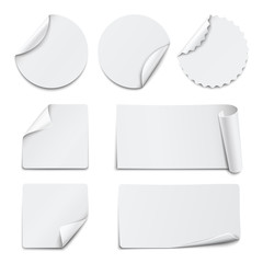 Set of white paper stickers on white background