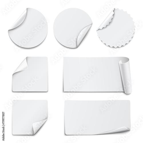 Fototapeta Set of white paper stickers on white background