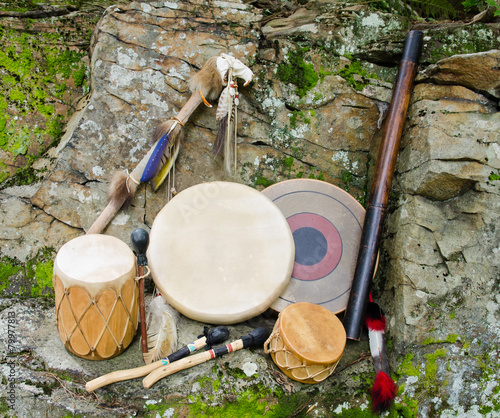 Native American Drums with Rain Stick and Spirit Chaser. - 79977813