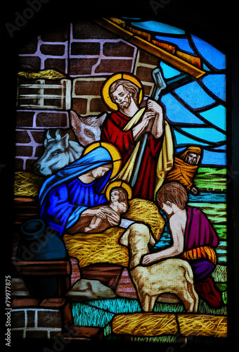 Tuinposter Bedehuis Stained Glass - Nativity Scene at Christmas