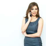 Business woman phone talking. Isolated portrait.