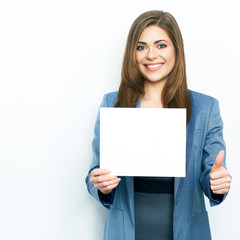 business woman hold white advertising  board.thumb up show.