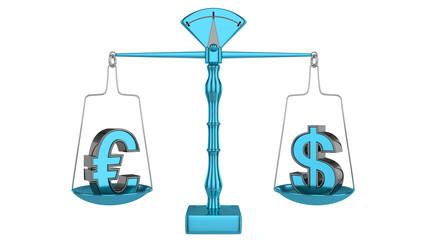 Euro / Dollar - Waage 2015 blue