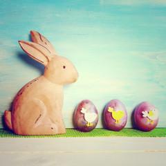 Osterkarte - Osterhase und Ostereier mit Motiv