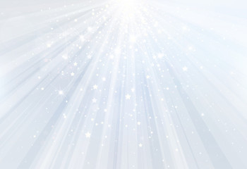 Vector blue background with rays, stars and lights.