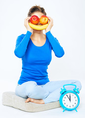 Woman portrait with fruit. Vitamin concept