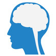 Human brain silhouette with blue face profile. - 79979414