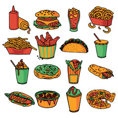 Fast food menu icons set color