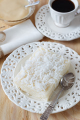 sweet cuoscous (tapioca) pudding (cuscuz doce) with coffee