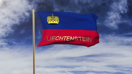 Liechtenstein flag with title waving in the wind. Looping sun