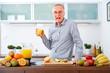 Senior man does not like fruits and Juice