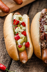 Chilli and vegetarian hot dog