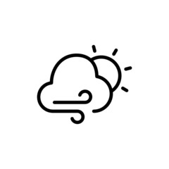 Windy Cloudy Day - Trendy Thin Line Icon