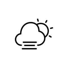 Cold Cloudy Day - Trendy Thin Line Icon