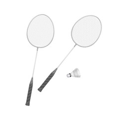 Vector Badminton Rackets with Shuttlecock Isolated