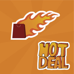 Hot deal and bag over orange color background