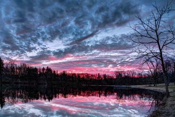 Dramatic Sunset Pond