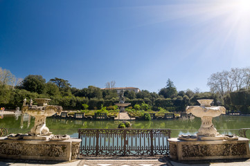 Sunny view of the Island Fountain, Boboli Gardens, Florence.