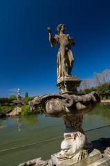 Sculpture of young man in Island Fountain, Boboli Gardens, Italy
