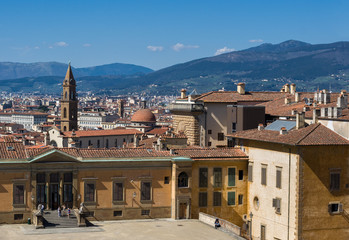 Entrance to Pitti Palace and view of the city on background.