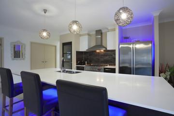 Led lit kitchen
