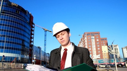 young architect at a construction site