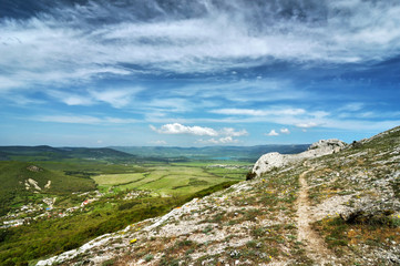 Beautiful summer sunny day with clouds. Crimea mountains