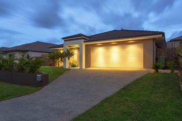 Modern home at dusk