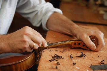 Deutschland, Oberbayern, Schaeftlarn, Geigenbauer baut Violine, close up