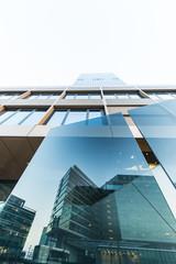 Österreich, Wien, Donau-City, DC Tower, Glasscheibe mit Reflexion