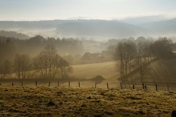 Deutschland, Nordrhein-Westfalen, Bergisches Land, Ruppichteroth, Landschaft am Morgennebel