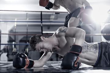 Boxer knockt seinen Gegner aus