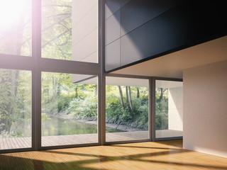 Das Innere des modernen Wohnzimmer mit Blick auf Bach, 3D-Rendering