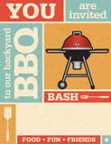 Fototapety Retro Barbecue Invitation with vector grunge texture