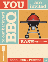 Retro Barbecue Invitation with vector grunge texture