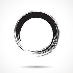 Brush painted black ink circle © swillklitch