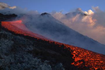 Italien, Sizilien, Lavastrom vom Vulkan Ätna