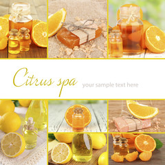 Orange and lemon spa compositions in collage