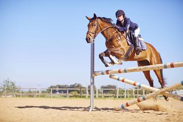 Junge Frau auf Pferd, Hindernisreiten