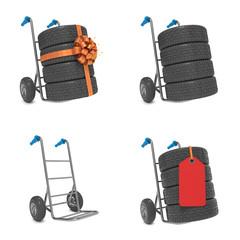 Sales Tires Concepts - Set of 3D Illustrations.