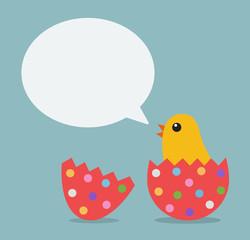 easter chicken bubble talk vector illustrator