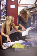 Zwei Studentinnen lernen in einer Bibliothek