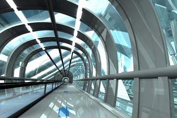 Futuristischer Gang von Bahnhof, 3D-Rendering
