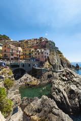 Italien, Ligurien, La Spezia, Cinque Terre, Manarola, Blick auf Dorf